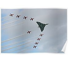 Avro Vulcan Escorted by the Red Arrows Poster