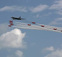 Vulcan XH558 and the Red Arrows by Tony Steel