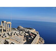 Greece, Rhodes, Lindos Acropolis, columns of the Athena Lindia Temple Photographic Print