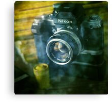 National geographic magazines & vintage Nikon F2 camera-Grunge Canvas Print