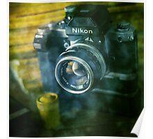 National geographic magazines & vintage Nikon F2 camera-Grunge Poster