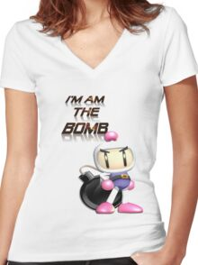 Bomberman: I'm am the BOMB Women's Fitted V-Neck T-Shirt