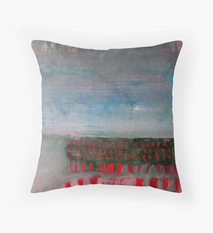Red Dash Landscape Throw Pillow