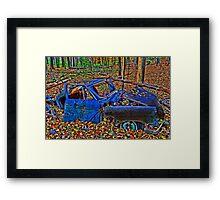 """ Old Blue Car - Camillus Forest, NY "" Framed Print"