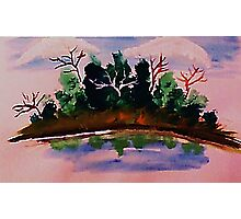 Pines by the water in reflection, watercolor Photographic Print