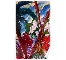 Blue tropic mist, watercolor Poster