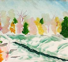 Cold wintery day,watercolor by Anna  Lewis