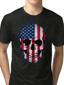 Vintage USA Flag Skull Design Tri-blend T-Shirt