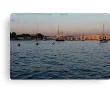 Sunrise Glow at Malta's Marsamxett Harbour Canvas Print