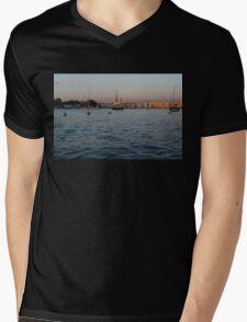 Sunrise Glow at Malta's Marsamxett Harbour Mens V-Neck T-Shirt