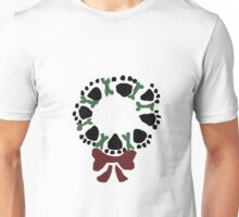 Funny Paw Prints and Biscuits Christmas Wreath Unisex T-Shirt