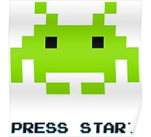 SPACE INVADERS RETRO PRESS START ARCADE TSHIRT Poster