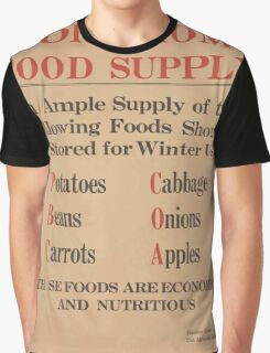 United States Department of Agriculture Poster 0277 Store Home Food Supply Potatoes Cabbage Beans Onions Carrots Apples Economic and Nutritious Graphic T-Shirt