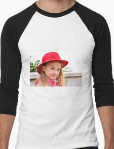 Portrait of a little lady in natural light Men's Baseball ¾ T-Shirt