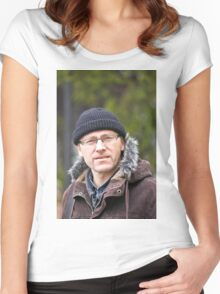 Portrait of man in light of the natural Women's Fitted Scoop T-Shirt