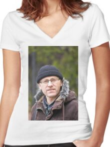 Portrait of man in light of the natural Women's Fitted V-Neck T-Shirt