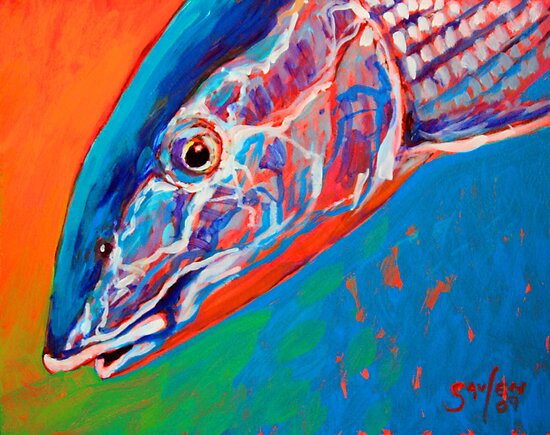 Bonefish Close-up : Bonefish painting by Sporting Artist Mike Savlen by Mike Savlen