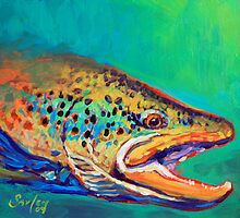 Brown Trout Portrait- Brown Trout Fly Fishing Painting By Mike Savlen  by Mike Savlen