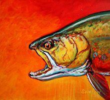 Brookie Portrait: Brook Trout Flyfishing Fine Art by Sporting Marine Artist Mike Savlen by Mike Savlen