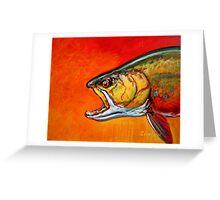 Brookie Portrait: Brook Trout Flyfishing Fine Art by Sporting Marine Artist Mike Savlen Greeting Card