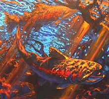 Chasing Nymphs- Brown Trout Fly Fishing Art  by Mike Savlen