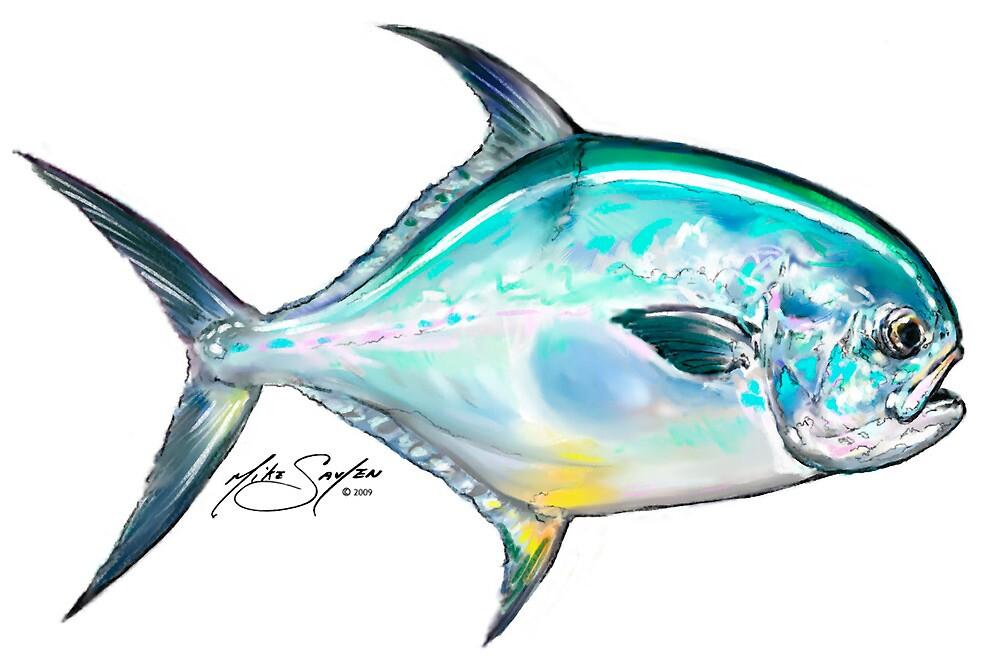 Permit Illustration - Mike Savlen Fly Fishing art by Mike Savlen