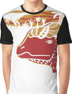 Dilophosaurus Duo - Orange and Red Graphic T-Shirt