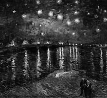 Vincent Van Gogh - Starry Night on the Rhone (Black and White) by lifetree