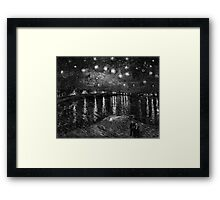 Vincent Van Gogh - Starry Night on the Rhone (Black and White) Framed Print