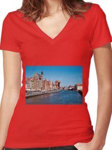 Gdansk ( Danzig ) - Poland   Women's Fitted V-Neck T-Shirt