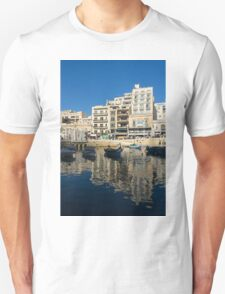 Bright Blue LOVE, Upside Down - Malta's St Julian's Harbor T-Shirt