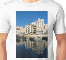 Bright Blue LOVE, Upside Down - Malta's St Julian's Harbor Unisex T-Shirt