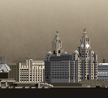 Liverpool 8-Bit (Black & White) by dabwood