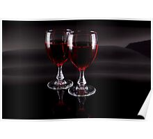 Two Glasses of Red Wine Poster