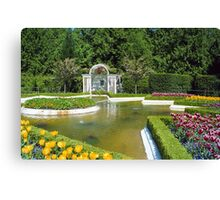 Fountain & Flowers- Butchart Gardens, Victoria, British Columbia Canvas Print