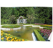 Fountain & Flowers- Butchart Gardens, Victoria, British Columbia Poster