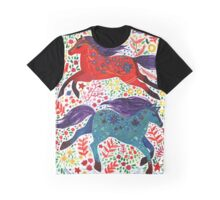 A Horse of Red and Blue Graphic T-Shirt