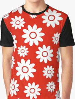 Red Fun daisy style flower pattern Graphic T-Shirt