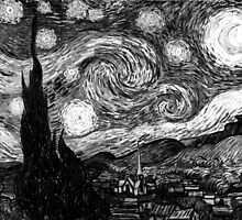 Vincent Van Gogh - Starry Night  (Black and White) by lifetree