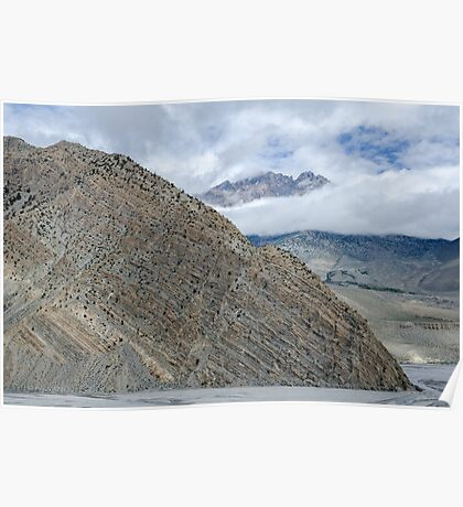 Clearly visible layered geological structure of Nepalese mountain Poster