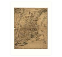 Vintage Map of The New England Coast (1771) Art Print