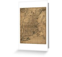 Vintage Map of The New England Coast (1771) Greeting Card