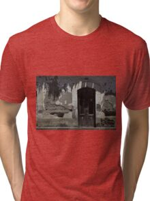 Wood Door in an Adobe Wall Tri-blend T-Shirt