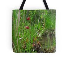 Red Water Flower Scene Tote Bag