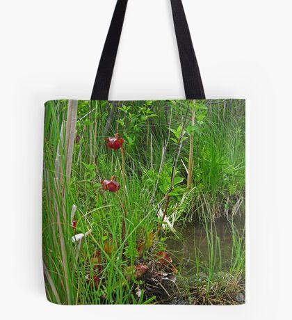Red Water Flower Scene Tote Bag