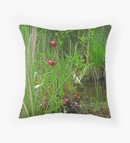 Red Water Flower Scene Throw Pillow