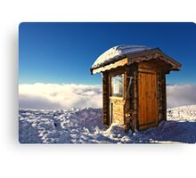 Sunlit Hut Above Clouds in the French Alps Canvas Print