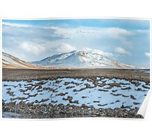 Amazing Tibetan landscape with snowy mountains and cloudy sky at Qinghai province Poster