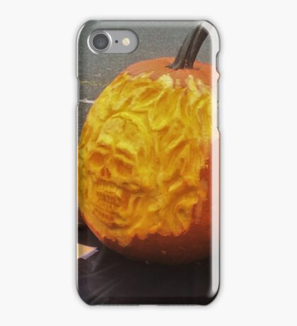 Flaming Skull 3D Pumpkin Carve iPhone Case/Skin