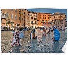 Piazza Navona is waking up, Rome Poster